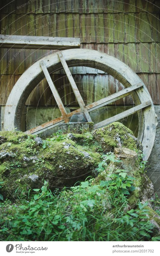 Old mill wheel on rock with water channel Leisure and hobbies Vacation & Travel Tourism Summer Hiking Living or residing Profession Miller Baker Agriculture