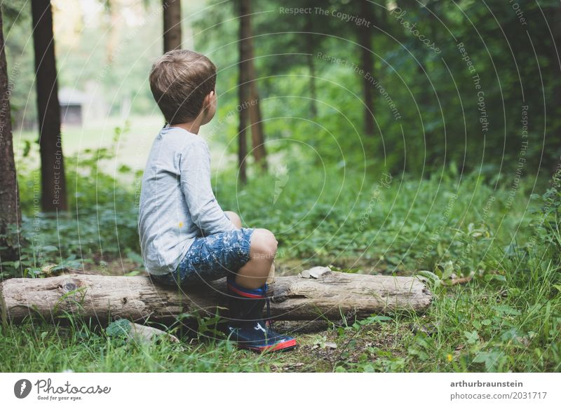 Boy sits on tree trunk in forest Leisure and hobbies Playing Vacation & Travel Tourism Trip Adventure Hiking Kindergarten Child School Schoolchild Human being