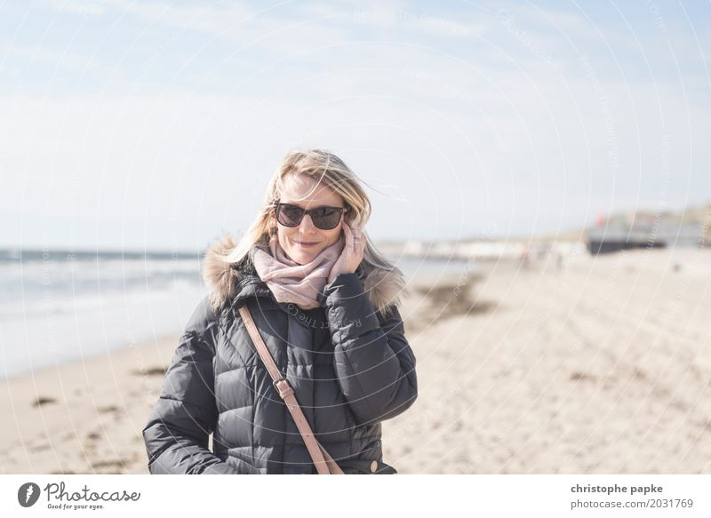 Autumn day at the beach Relaxation Vacation & Travel Beach Ocean Waves Feminine Young woman Youth (Young adults) Woman Adults 1 Human being 30 - 45 years