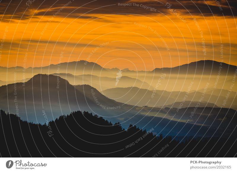 Twilight on the mountain Landscape Sunrise Sunset Spring Summer Autumn Beautiful weather Alps Mountain Peak Warm-heartedness Romance Adventure Idyll