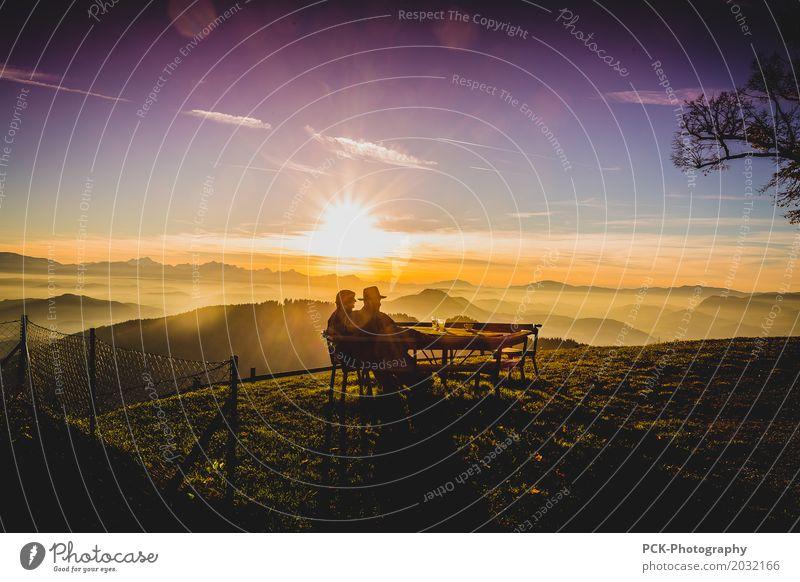 Evening sun on the mountain Sunrise Sunset Sunlight Spring Summer Autumn Fog Garden Hill Mountain To enjoy Dream Infinity Warmth Yellow Gold Warm-heartedness