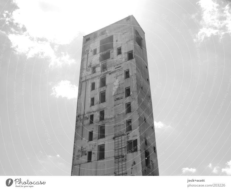 peel Sky Clouds Beautiful weather Lichtenberg Ruin Tower Manmade structures Concrete Exceptional Sharp-edged Large Hideous Bright Broken Moody Unwavering