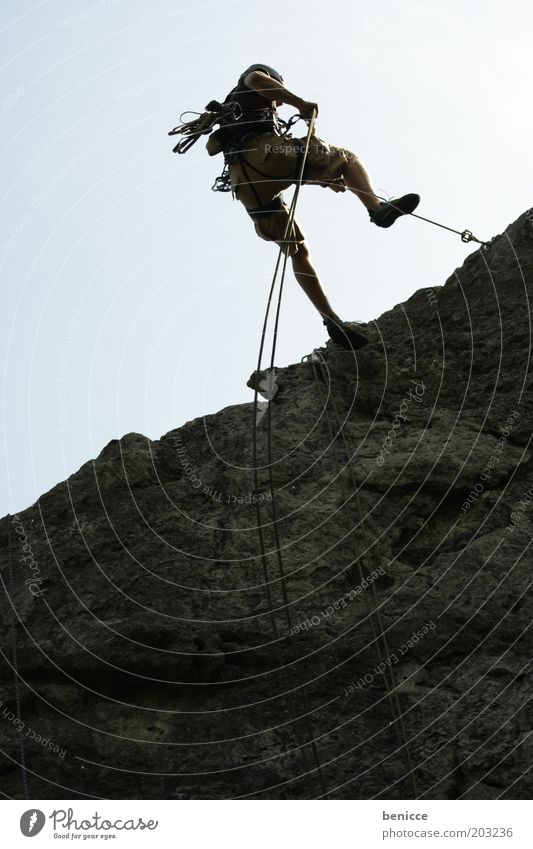 Human being Man Summer Sports Mountain Stone Masculine Rope Rock Safety Dangerous Climbing Athletic Downward Risk Helmet