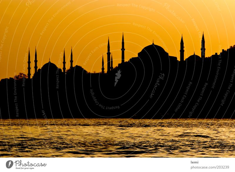 Skyline of old Istanbul Port City Old town Manmade structures Building Historic Yellow Turkey Silhouette Mosque The Bosphorus Hagia Sophia Dusk Minaret Strait