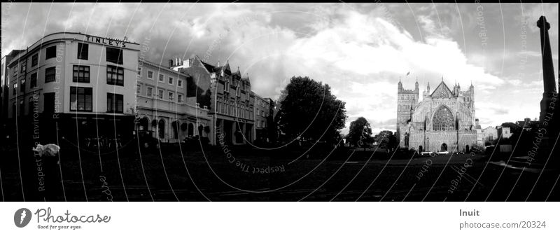 exeter England Panorama (View) Europe Black & white photo Cathedral Large Panorama (Format)