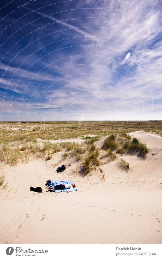 what a beautiful spot Human being Masculine Life 1 Environment Nature Landscape Sand Horizon Sun Summer Beautiful weather Beach Island Spiekeroog Sleep Rest