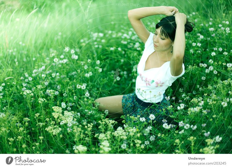 Summer Human being Youth (Young adults) Flower Green Eroticism Field Adults Hair Young woman Woman 18 - 30 years
