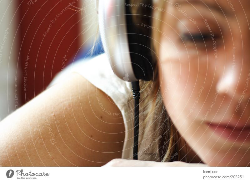 relaxation Music Listening Headphones Relaxation Contentment White Bright Lie European Portrait photograph Homey Stereo Eyes Brunette Youth (Young adults)
