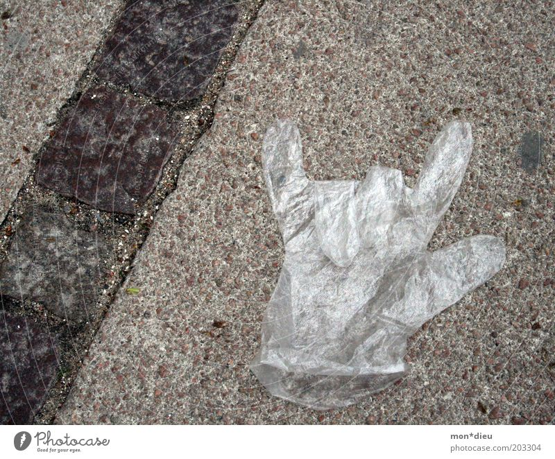Hand Joy Street Music Trash Sign Rock music Plastic Symbols and metaphors Gloves Gesture Rebellious Copy Space left Protection