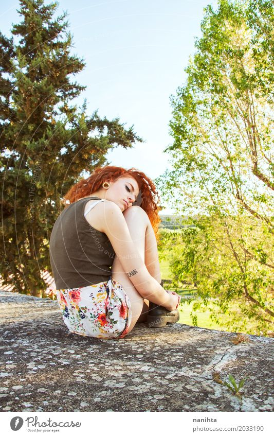 Young redhead woman sitting near a forest Human being Nature Youth (Young adults) Young woman Green Tree Landscape Relaxation Loneliness Calm 18 - 30 years