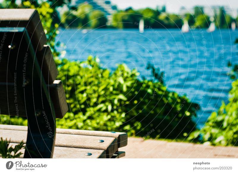 Water Green Blue Summer Spring Lanes & trails Lake Watercraft Brown Hamburg Trip Tourism Bench Vantage point Sailing Sunbathing