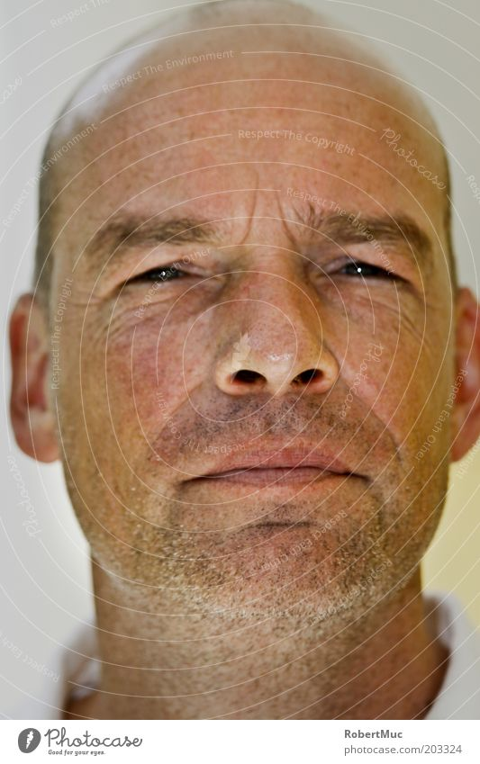 Happy Man Human being Masculine Adults Head Mouth 1 30 - 45 years Bald or shaved head Designer stubble Observe Authentic Cool (slang) Reliability Thorny White
