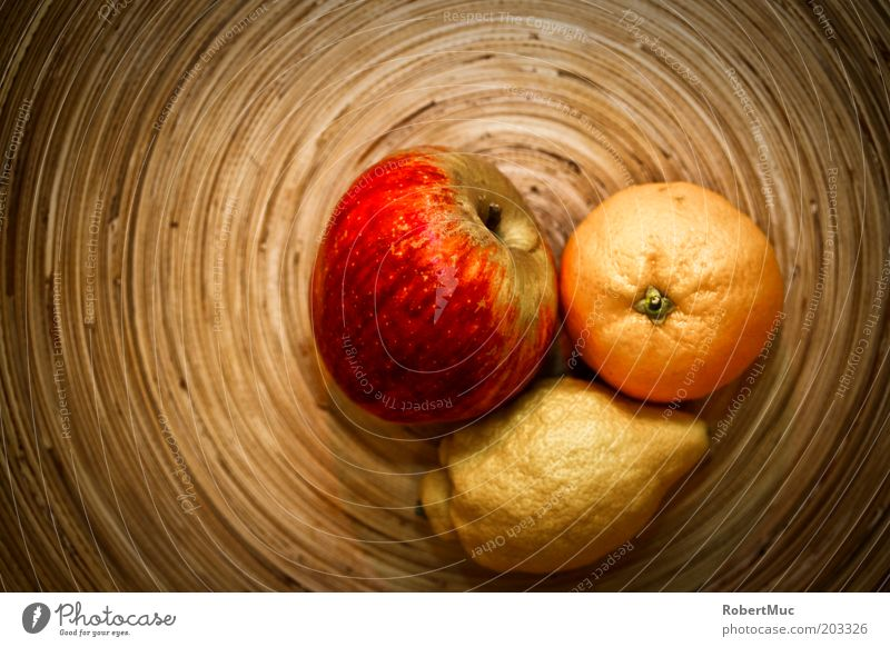 Just fruits Food Fruit Apple Orange Vegetarian diet Lemon Plate Style Living or residing Decoration Kitchen Wood Esthetic Brown Multicoloured Yellow Red