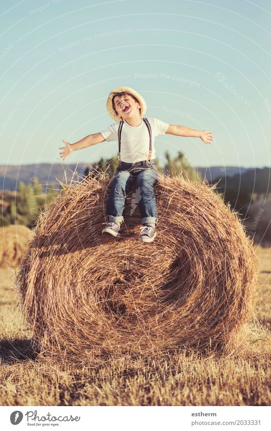 Kid playing in wheat field. Human being Child Nature Vacation & Travel Summer Landscape Joy Lifestyle Emotions Movement Boy (child) Dream Field Body Power