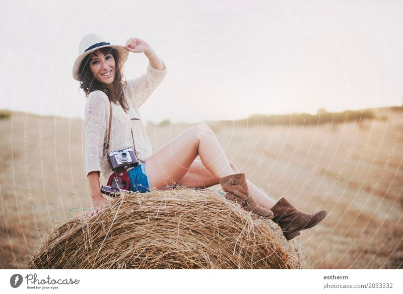 Smiling girl sitting on the straw Human being Woman Vacation & Travel Youth (Young adults) Young woman Summer Face Adults Life Lifestyle Legs Freedom Fashion