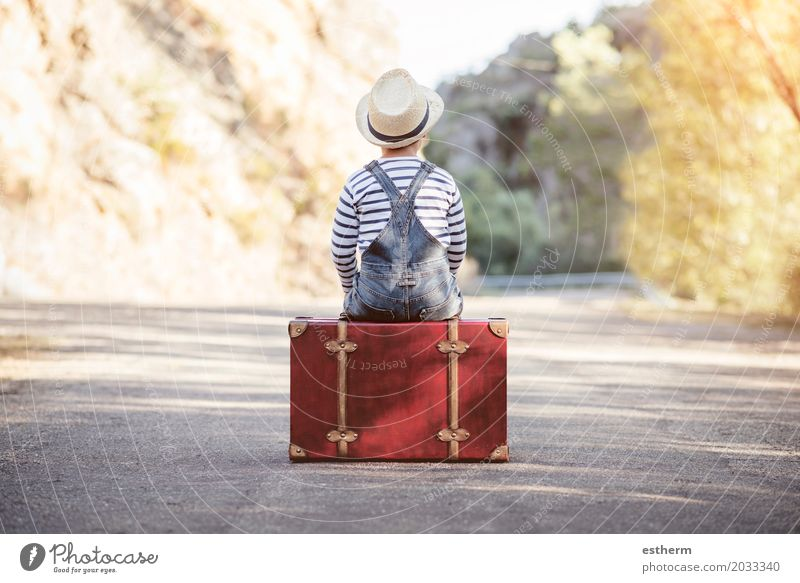Boy with suitcase on the road Lifestyle Vacation & Travel Trip Freedom Human being Child Boy (child) Back 1 3 - 8 years Infancy Nature Landscape Spring Summer