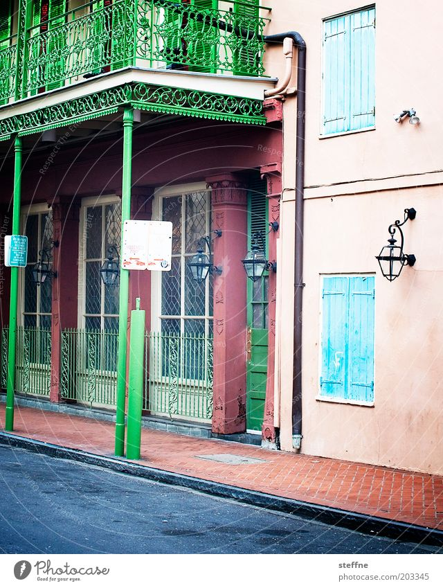 FQ french quarter Downtown Old town House (Residential Structure) Facade Balcony Window Door Esthetic Authentic Historic Kitsch Colour photo Multicoloured
