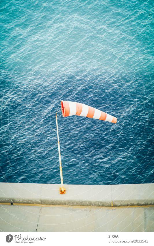 Blue Water Ocean Red Weather Air Wind Beautiful weather Harbour Flag Windsock Wind direction Air speed meter Wind speed