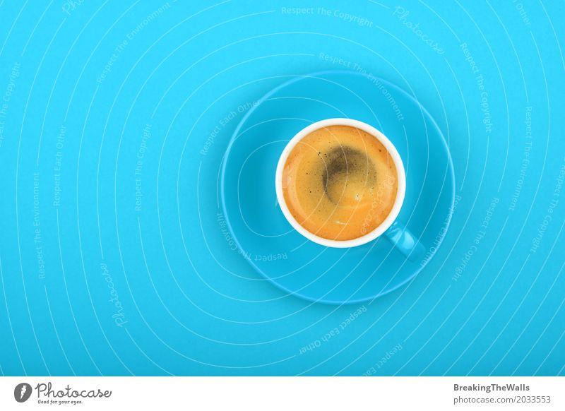 Espresso in blue cup on blue background Blue Colour Relaxation Cold Style Art Design Elegant Modern To enjoy Idea Energy Paper Cool (slang) Beverage Coffee