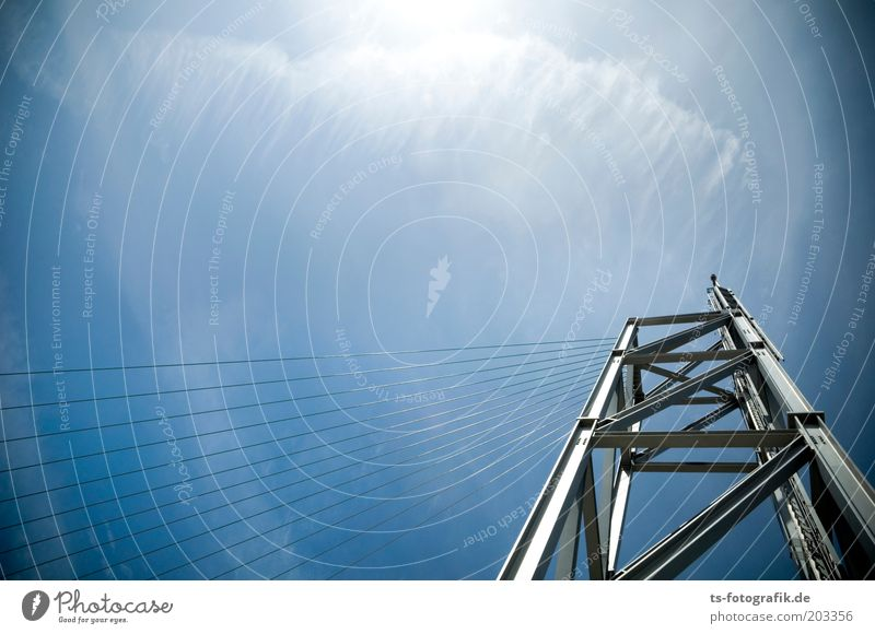 Exaggerated wind harp Elements Air Sky Clouds Beautiful weather Tower Architecture Steel construction Steel cable Wire cable Metal construction Line Tall Blue