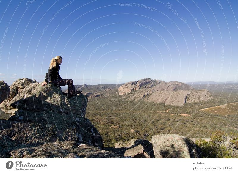 SIGHTSEEING Climbing Mountaineering Hiking Human being Young woman Youth (Young adults) Landscape Cloudless sky Horizon Beautiful weather Rock Sit Exceptional