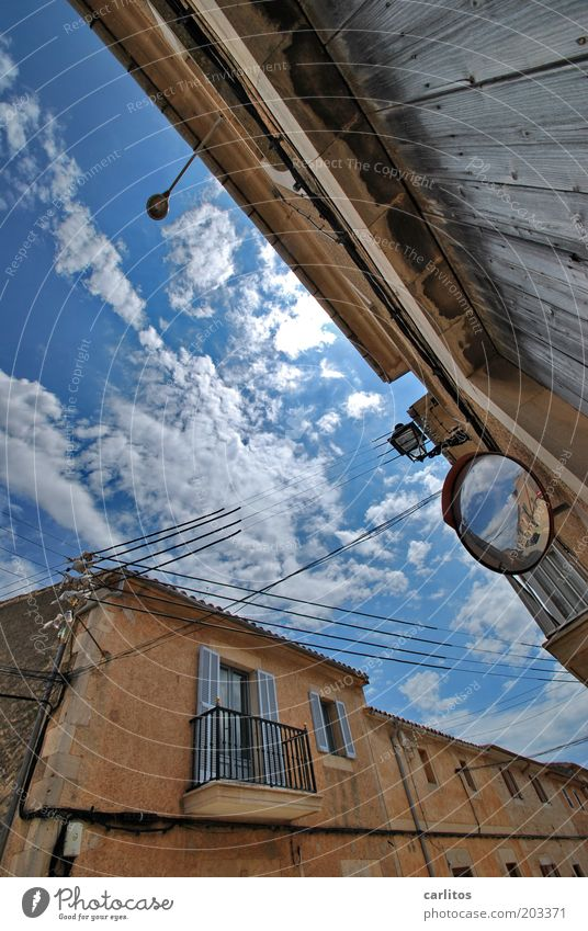 Mirror, mirror on the wall: Sky Clouds Summer Beautiful weather Village Small Town Old town House (Residential Structure) Building Wall (barrier)