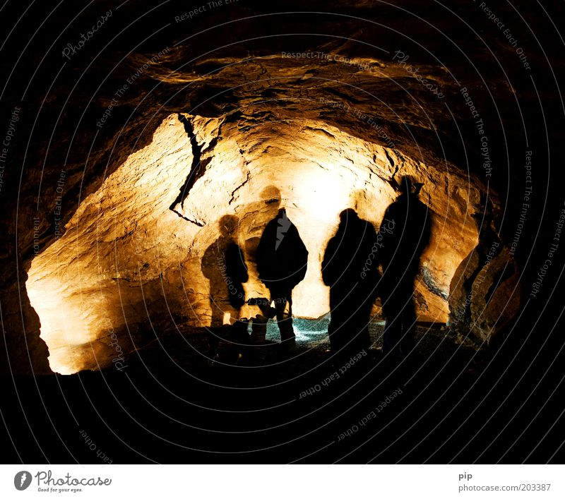 voyage au centre de la terre Vacation & Travel Adventure Cave Tunnel Discover Silhouette Shadow Group Nature Elements Brown Yellow Bizarre Leisure and hobbies