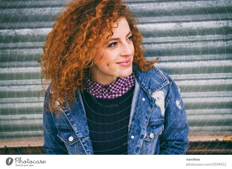 Young redhead teen smiling outside Human being Youth (Young adults) Young woman Town 18 - 30 years Adults Life Natural Feminine Exceptional Hair and hairstyles