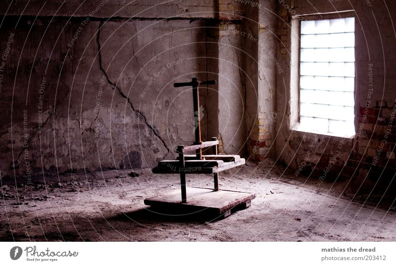 Press Deserted Industrial plant Factory Ruin Building Architecture Window Old Dark Still Life Glass block Room Dusty Dirty Crack & Rip & Tear Plaster Nostalgia