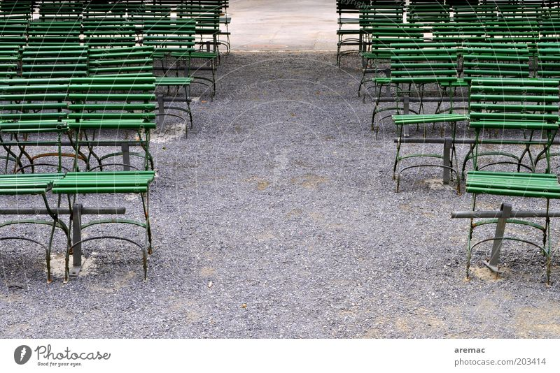 public viewing Calm Summer Chair Event Park Gray Green Row of chairs Seating capacity Empty Colour photo Subdued colour Exterior shot Copy Space middle Morning