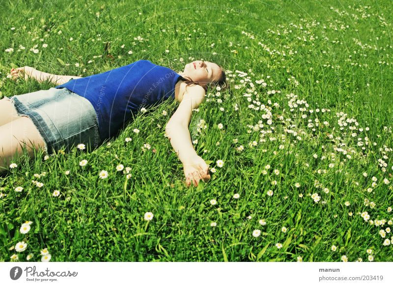 lazy girl Lifestyle Joy Healthy Well-being Contentment Relaxation Calm Meditation Leisure and hobbies Vacation & Travel Summer Sunbathing Young woman
