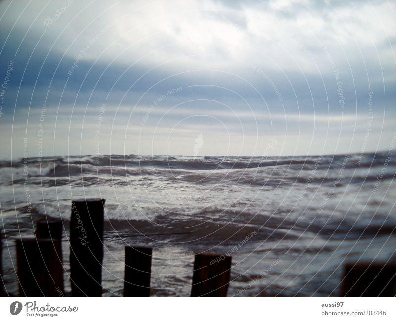 Water Sky Ocean Waves Coast Horizon Gale Surf Break water Clouds in the sky