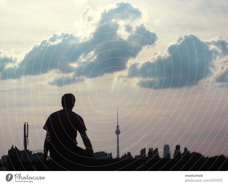 SUMMER FREE Masculine Young man Youth (Young adults) Life Berlin Skyline Tourist Attraction Landmark Berlin TV Tower Emotions Moody Calm Longing Homesickness