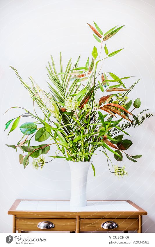 Green Plant Arrangements in Vase Style Design Summer Living or residing Flat (apartment) Interior design Decoration Table Room Office Business Nature Spring