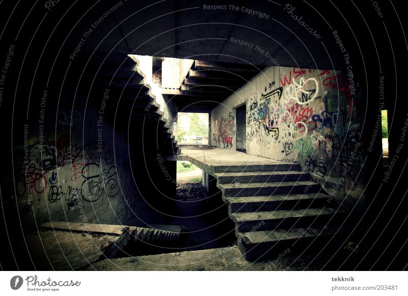 Stairway to heaven Cellar Deserted House (Residential Structure) Ruin Threat Dirty Dark Trashy Gloomy Town Brown Black Perturbed Esthetic Uniqueness