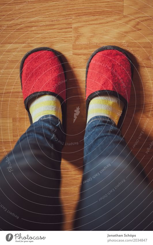 A view of red felt slippers VII Legs Jeans Ground CMYK Detail Felt Floor covering Feet Colour tone Guest Slippers Laminate Shuffle Footwear Stockings Blue Brown
