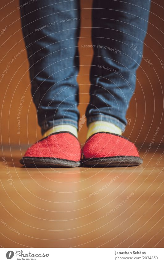 A view of red felt slippers V Legs Jeans Ground CMYK Detail Felt Floor covering Feet Colour tone Guest Slippers Laminate Shuffle Footwear Stockings Blue Brown