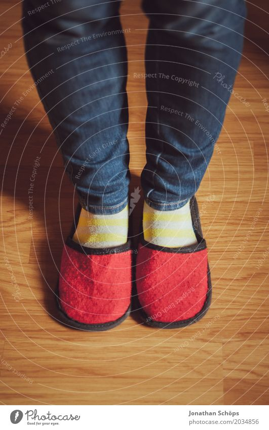 A view of red felt slippers II Legs Jeans Ground Floor covering CMYK Detail Felt Feet Colour tone Guest Slippers Laminate Shuffle Footwear Stockings Blue Brown