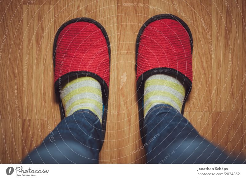 A view of red felt slippers I Warmth Stockings Footwear Slippers Under Blue Brown Yellow Red CMYK Felt Floor covering Laminate Shuffle Legs Jeans Ground Feet
