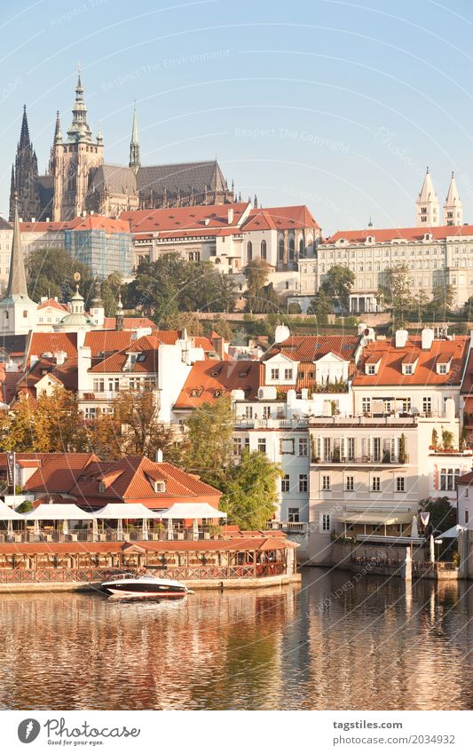 PRAGUE IN THE SUNSHINE Prague The Moldau Twilight Blue Vacation & Travel Travel photography Czech Republic Night Lighting Town Europe River Water City trip Card