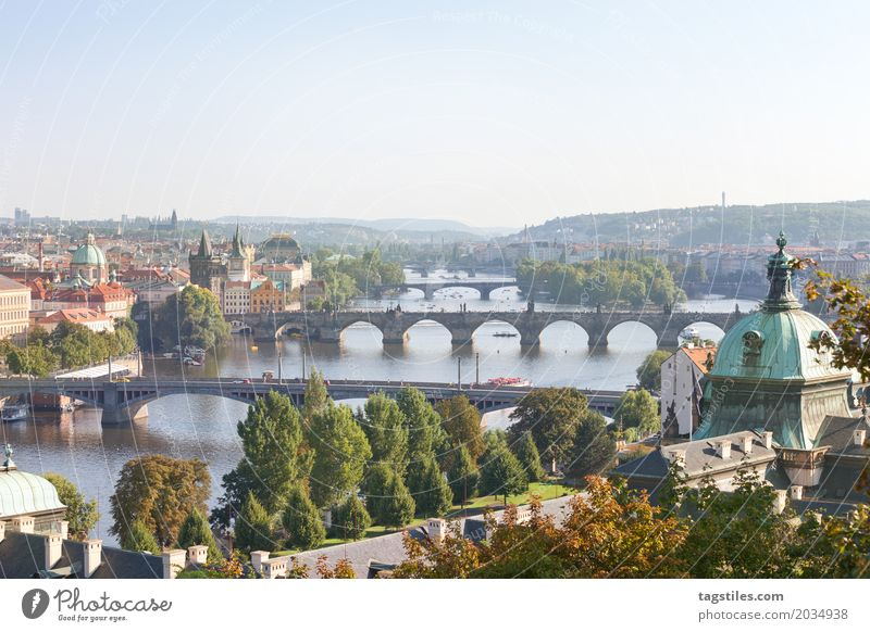 MOLDAU Prague The Moldau Vacation & Travel Travel photography Charles Bridge Czech Republic Town Europe River Water City trip Church Church spire Card Horizon