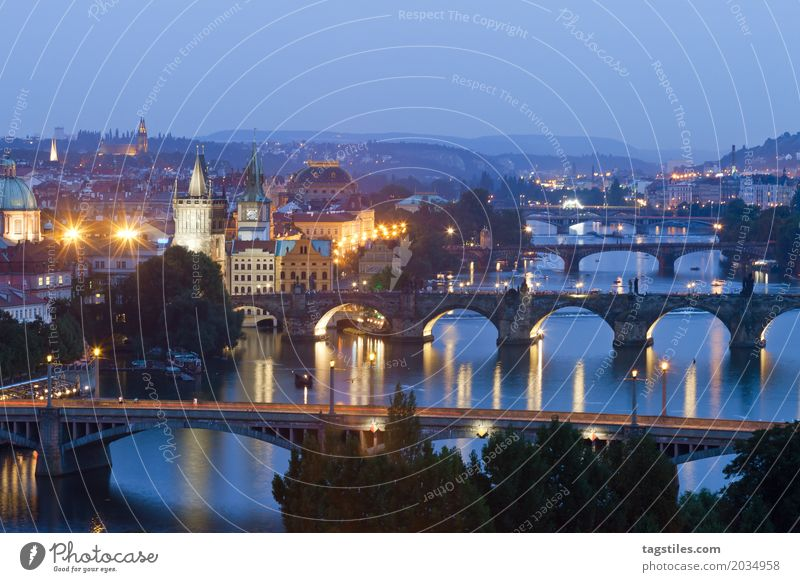 Prague by night The Moldau Twilight Blue Vacation & Travel Travel photography Charles Bridge Czech Republic Night Lighting Town Europe River Water City trip