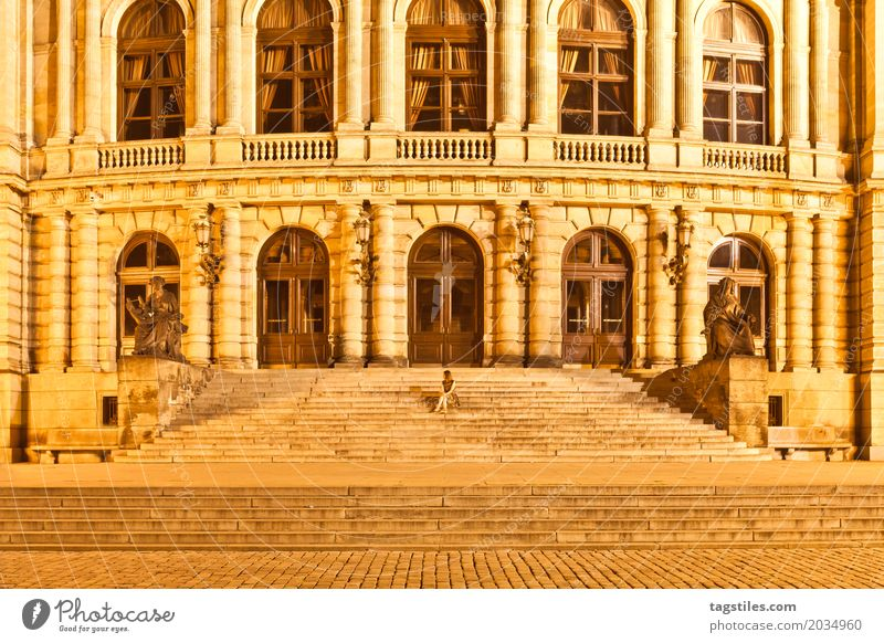 search picture Prague Rudolfinum Twilight Yellow Vacation & Travel Travel photography Building Czech Republic Night Lighting Town Europe City trip Card Historic