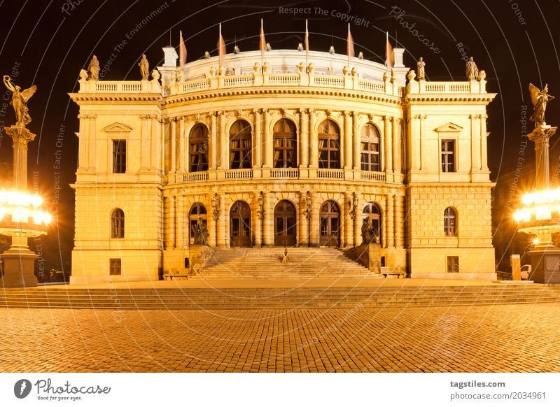 RUDOLFINUM - PRAGUE Prague Rudolfinum Twilight Yellow Vacation & Travel Travel photography Building Czech Republic Night Lighting Town Europe City trip Card