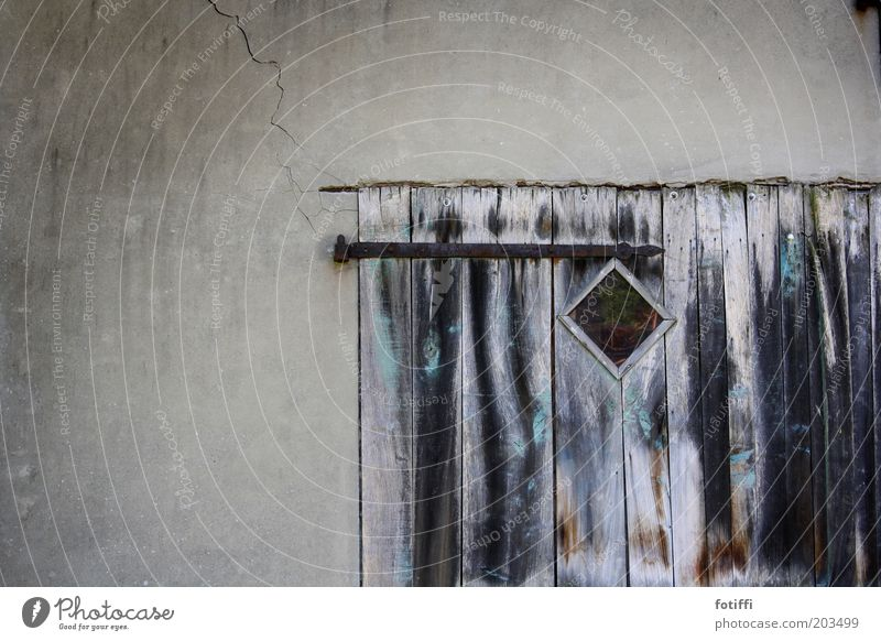Old Calm Wall (building) Window Wood Gray Door Closed Mysterious Gate Past Wooden board Crack & Rip & Tear Iron Barn Stagnating