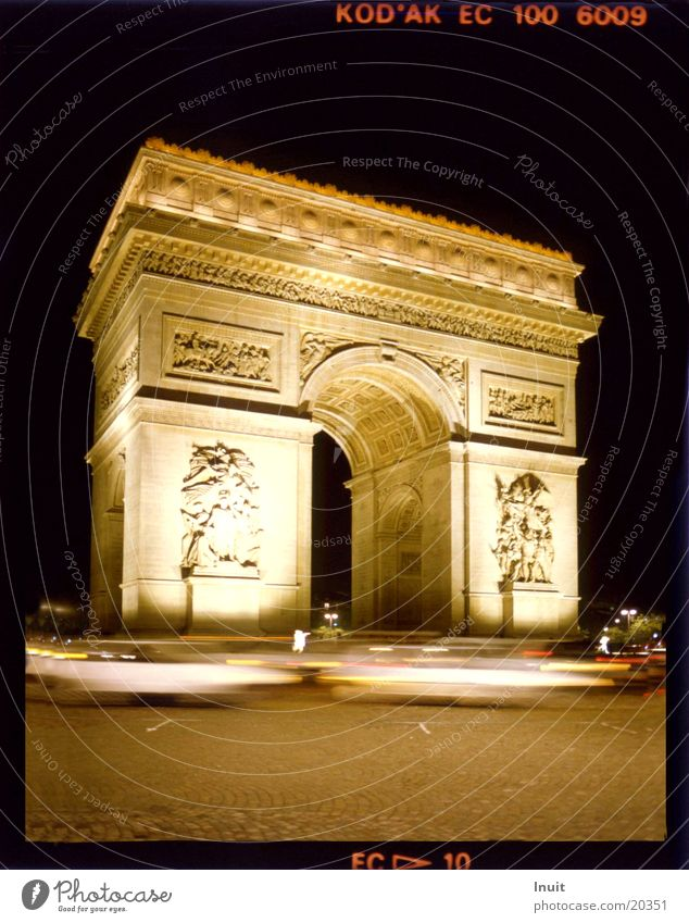 Arc de Triomphe Paris Night Transport France Architecture