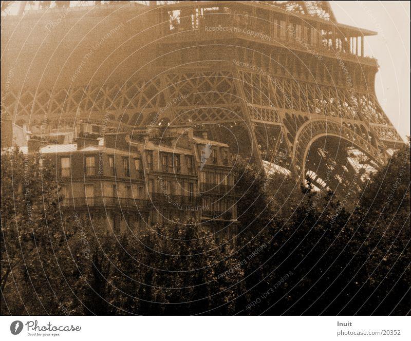 Eiffel Tower Paris Architecture Sepia Fog Old