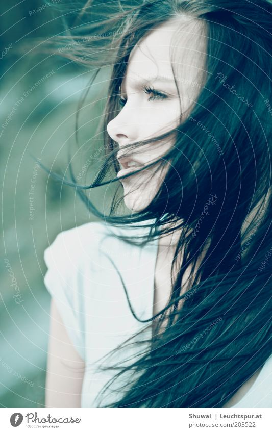 Youth (Young adults) Beautiful Feminine Emotions Freedom Dream Hair and hairstyles Sadness Power Adults Wind Portrait photograph Woman Hope Longing