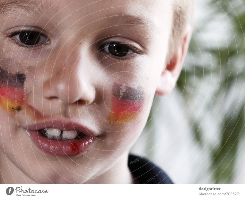Child Face Eyes Boy (child) Sports Germany Dirty Infancy Mouth Nose Hope Teeth German Flag Trust Passion Make-up