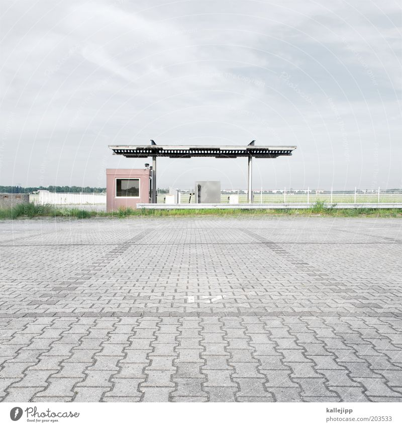 Sky Loneliness Berlin Energy industry Places Empty Ground End Hut Decline Airport Economy Ruin Retirement Parking lot Paving stone